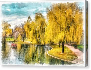 Swan Boats Boston Public Garden Canvas Print