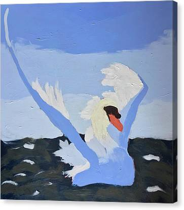 Canvas Print featuring the painting Swan by Donald J Ryker III