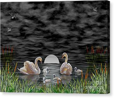 Canvas Print featuring the digital art Swan Family by Terri Mills
