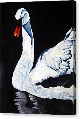 Swan In Shadows Canvas Print by Lil Taylor