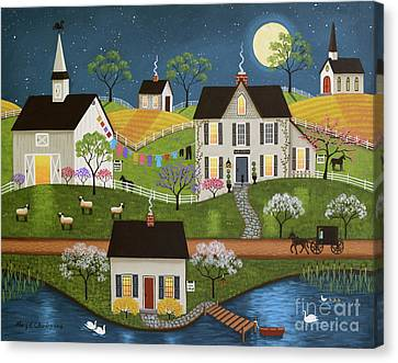 Swan Lake Farm Canvas Print by Mary Charles