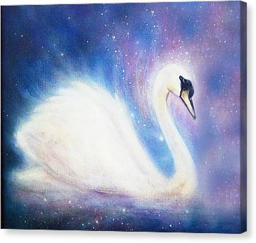 Swan On Color Abstract Cosmic Background. Canvas Print by Jozef Klopacka