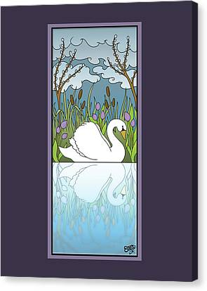 Swan On The River Canvas Print by Eleanor Hofer