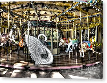 Swan Seat At The Carousel  Canvas Print by Michael Garyet
