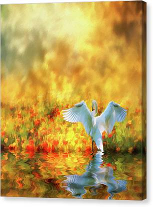 Swan Song At Sunset Thanks For The Good Day Lord Canvas Print by Diane Schuster