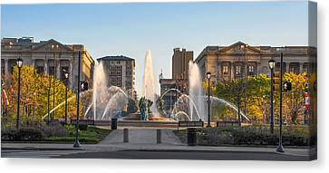 Swann Fountain In The Springtime Canvas Print by Bill Cannon