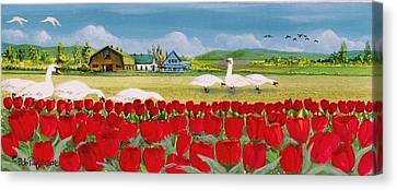 Swans And Tulips Canvas Print by Bob Patterson
