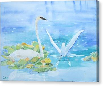 Swans Canvas Print by Christine Lathrop