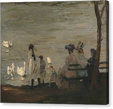 Swans In Central Park Canvas Print by George Bellows