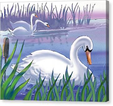 Swans Canvas Print by Valer Ian