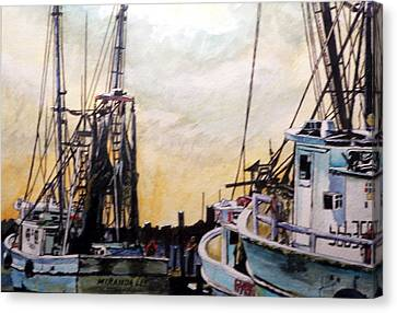 Canvas Print featuring the painting Swansboro Shrimp Boats by Jim Phillips