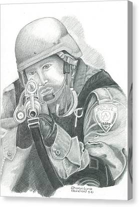 S.w.a.t. At The Ready Canvas Print by Sharon Blanchard