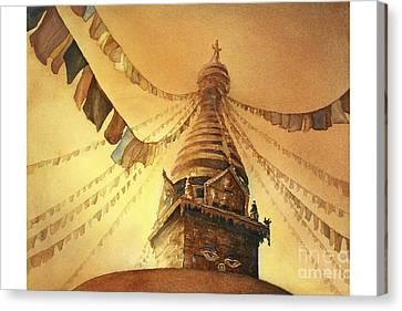 Swayambhnath Buddist Stupa- Nepal Canvas Print by Ryan Fox