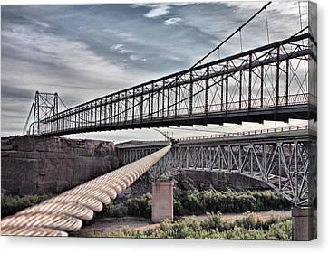 Canvas Print featuring the photograph Swayback Suspension Bridge by Farol Tomson