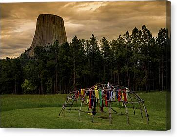 Canvas Print featuring the photograph Sweat Lodge At Devil's Tower by Gary Lengyel