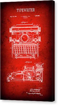Typewriter Keys Canvas Print - Sweeney Typewriter Patent  1941 by Daniel Hagerman