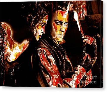 Sweeny Todd - Johnny Depp,helena Bonham Canvas Print by Prar Kulasekara
