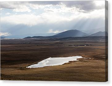 Canvas Print featuring the photograph Sweeping Plain And A Small Lake Between Mountain Foothills Near Fairplay In Park County by Carol M Highsmith