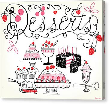 Sweet And Lovely Desserts Canvas Print by Little Bunny Sunshine