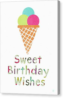 Sweet Birthday Wishes- Art By Linda Woods Canvas Print