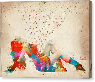 Passionate Lovers Canvas Print - Sweet Jenny Bursting With Music by Nikki Smith