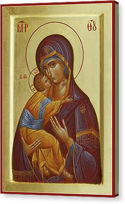 Icon Byzantine Canvas Print - Sweet Kissing Mother Of God by Julia Bridget Hayes