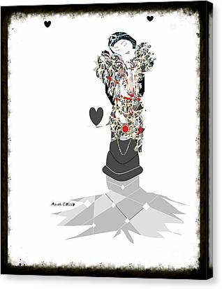 Canvas Print featuring the mixed media Sweet Lady 7 by Ann Calvo
