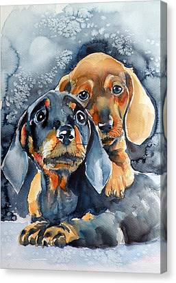 Sweet Little Dogs Canvas Print
