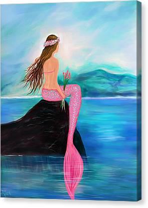 Sweet Mermaid Canvas Print by Leslie Allen