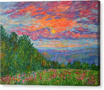 Sweet Pea Morning On The Blue Ridge Canvas Print by Kendall Kessler