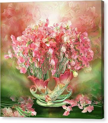 Summer Flowers Canvas Print - Sweet Peas In Sweet Pea Vase 2 by Carol Cavalaris