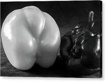Sweet Pepper Study- Black And White Peppers In Monochrome Canvas Print
