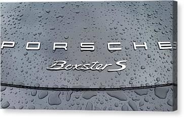 Rain Drops On A Porsche Boxster S Canvas Print by Fiona Kennard