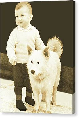 Sweet Vintage Toddler With His White Mutt Canvas Print by Marian Cates