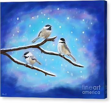 Canvas Print featuring the painting Sweetest Winter Birdies by Leslie Allen