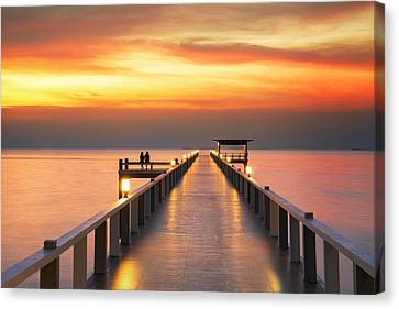 Huahin Canvas Print - Sweetheart On Wooded Bridge With Sunset by Anek Suwannaphoom