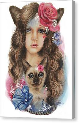 Canvas Print featuring the mixed media Sweetheart by Sheena Pike