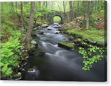 Swift River And Keystone Bridge Quabbin Reservoir Canvas Print by John Burk