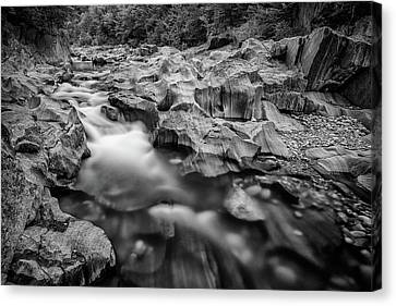 Maine Mountains Canvas Print - Swift River In Coos Canyon In Black And White by Rick Berk