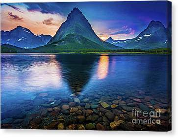 Swiftcurrent Twilight Canvas Print by Inge Johnsson