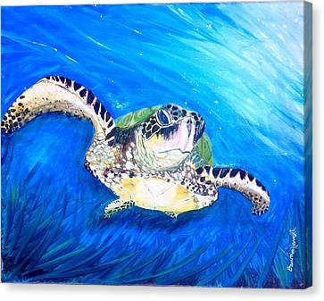 Canvas Print featuring the painting Swim by Dawn Harrell
