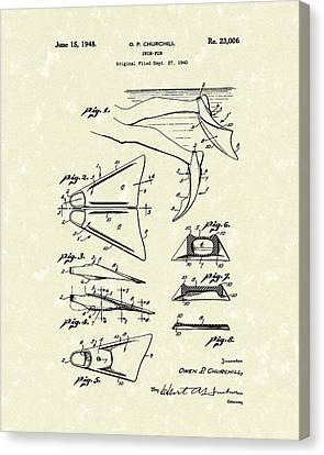 Swim Fin 1948 Patent Art Canvas Print by Prior Art Design