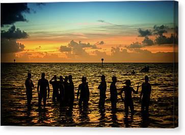 Swimmers Sunrise Canvas Print