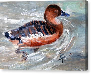Canvas Print featuring the painting Swimming Aceo by Brenda Thour