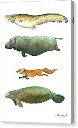 Swimming Animals Canvas Print by Juan Bosco