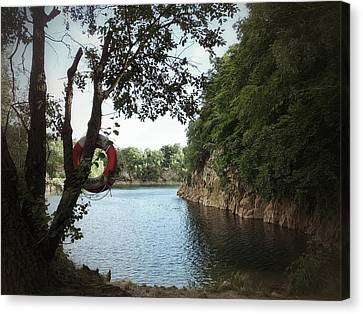 Canvas Print featuring the photograph Swimming At The Quarry by Karen Stahlros