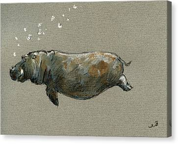 Hippopotamus Canvas Print - Swimming Hippo by Juan  Bosco