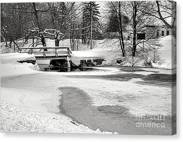 Maine Winter Canvas Print - Swimming Hole At Bristol Dam In Winter by Olivier Le Queinec