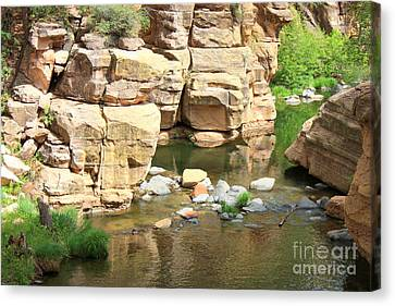 Slide Rock Canvas Print - Swimming Hole At Slide Rock by Carol Groenen