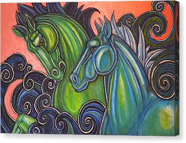 Swimming Horses  Canvas Print by Lynnette Shelley